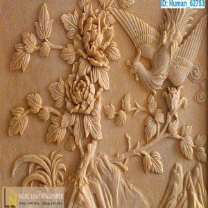 Tranh 3d điêu khắc chim trĩ và hoa mẫu đơn