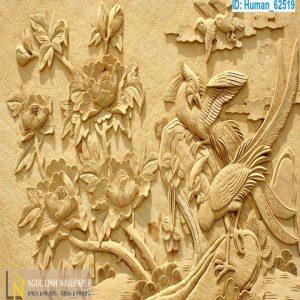 Tranh 3d điêu khắc công và hoa mẫu đơn