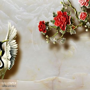 Tranh 3d dán tường giả ngọc hạc và hoa hồng