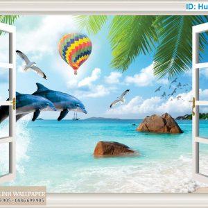 Tranh 3d hình cửa sổ biển và cá