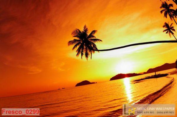 Tranh 3d hoàng hôn đảo hawaii
