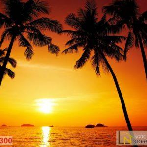 Tranh 3d hoàng hôn mặt trời lặng tại biển hawaii