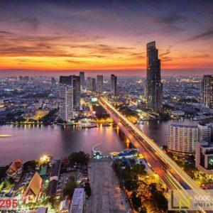 Tranh 3d hoàng hôn thành phố bangkok