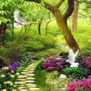 Tranh 3d khổ dọc đôi chim bồ câu và khu vườn đầy hoa