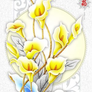 Tranh 3d khổ dọc hoa loa kèn