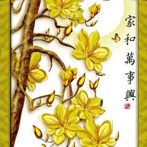 Tranh 3d khổ dọc hoa mai vàng