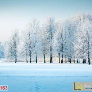 Tranh 3d thiên nhiên khu rừng tuyết