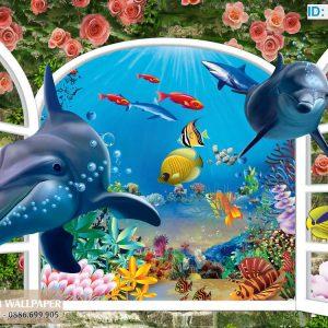 Tranh 3d hình cửa sổ biển cá